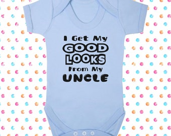 I Get My Good Looks From My Uncle Funny Baby Bib Gift Present Shower Christening