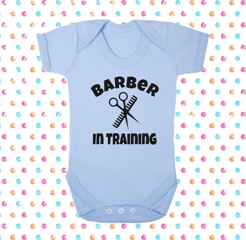 Barber In Training Supersoft Cotton Bodysuit Sleepsuit Babygrow Boy Blue Christening Gift Shower New Son Daddy Cute Sweet Hairdresser Beard
