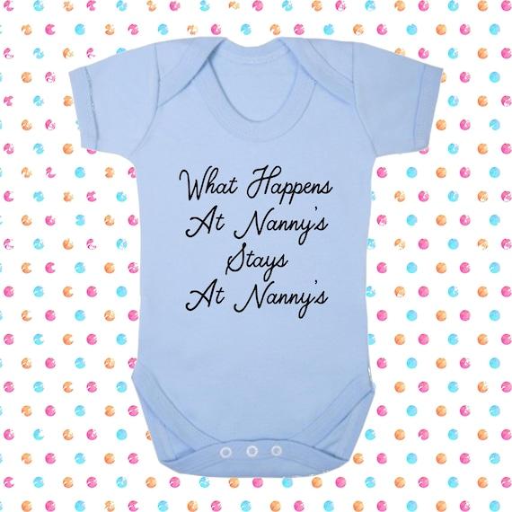 What Happens At Nanny/'s  Stays Blue Pink Cotton Bodysuit Baby Present Grandchild