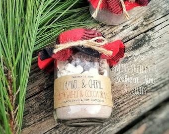 Rustic Winter Wedding Favor, (24) Personalized Hot Chocolate Favor, Buffalo Plaid Winter Wedding Favors, Edible Wedding Favor, Holiday Favor