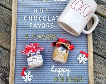 Ready to Ship Personalized Hot Chocolate Favors, Winter Wedding Favor, Edible Party Favor, Christmas Party Favor, Rustic Cocoa Wedding Favor