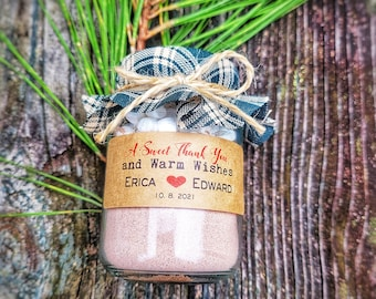 Winter Wedding Favor, 100 (4oz) Personalized Hot Chocolate Favor, Rustic Wedding Favors, Edible Wedding Favor, Holiday Favor Cocoa Favor