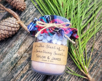 Winter Wedding Favor, 30 (4oz) Personalized Hot Chocolate Favor, Rustic Wedding Favors, Edible Wedding Favor, Holiday Favor Cocoa Favor