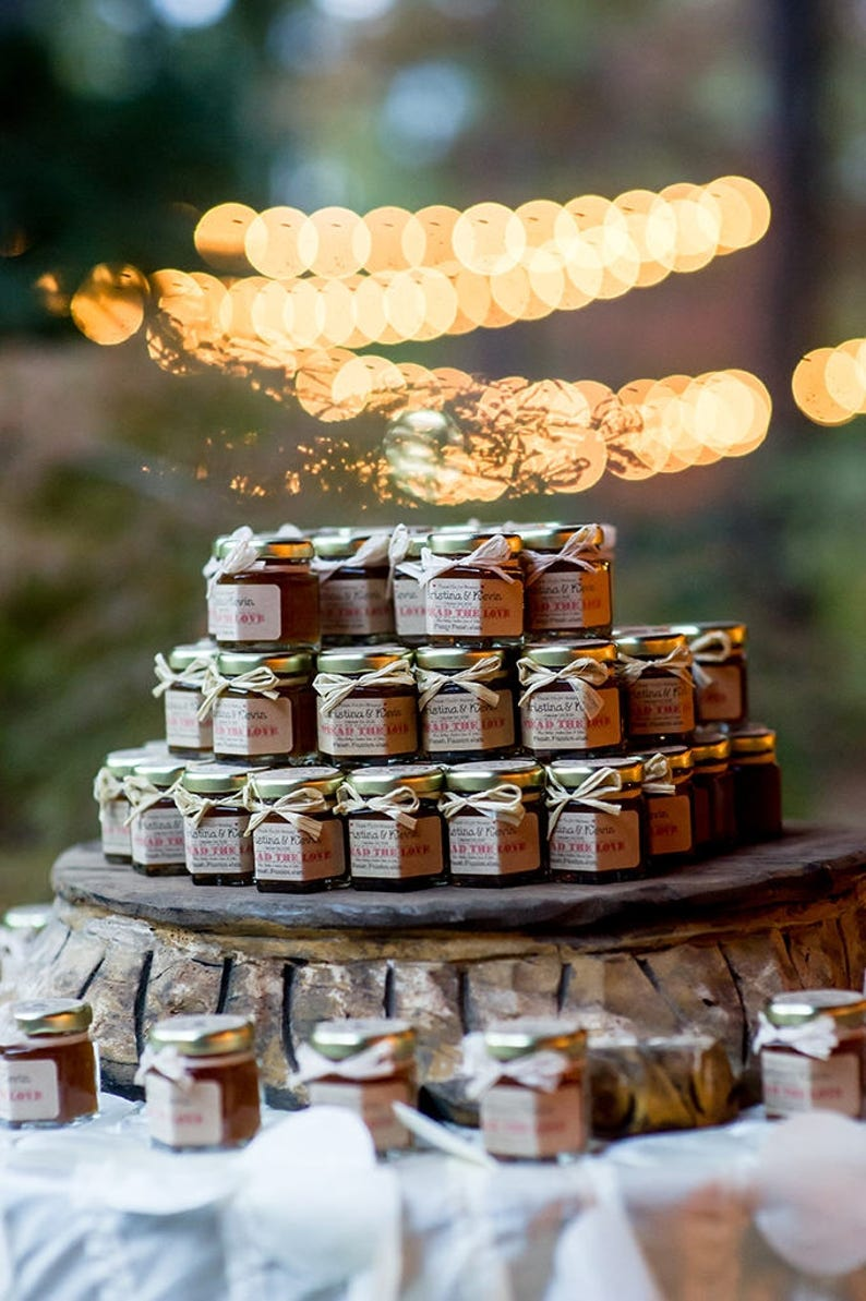 100 2oz Rustic Jam Wedding Favors with Personalized Labels image 0
