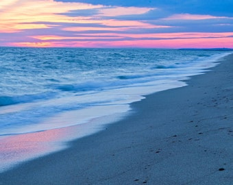 South Cape Beach Sunset Print - landscape photo of a winter sunset at South Cape Beach State Park in Mashpee on Cape Cod