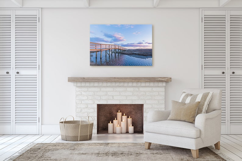 landscape photo of sunset behind the boardwalk at Ridgevale Beach in Chatham on Cape Cod Ridgevale Crossing Canvas Gallery Wrap
