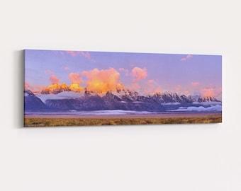 Sunrise Alpenglow on the Teton Range Canvas Wrap - panorama photo of the sun rising on the Grand Teton in Grand Teton National Park
