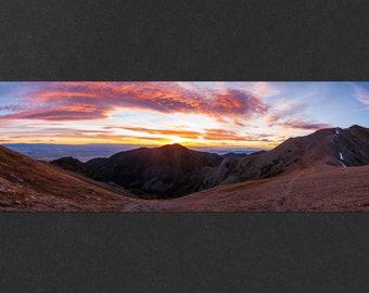 Rocky Mountain Sunset Panorama Print - photo of the peaks of the Bridger Range and the Gallatin Valley near Bozeman Montana