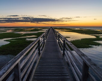 Grays Beach Boardwalk Sunset Metal Print - landscape photo of a summer sunset at Grays Beach near Bass Hole in Yarmouth Port on Cape Cod