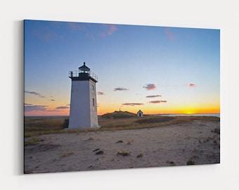 Long Point Lighthouse Sunset Canvas - photo of sunset over Long Point Lighthouse in the Cape Cod National Seashore in Massachusetts