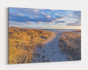 Ridgevale Beach Sunset Canvas Gallery Wrap - photo of a winter sunset over beach grass and dunes of Ridgevale Beach in Chatham on Cape Cod