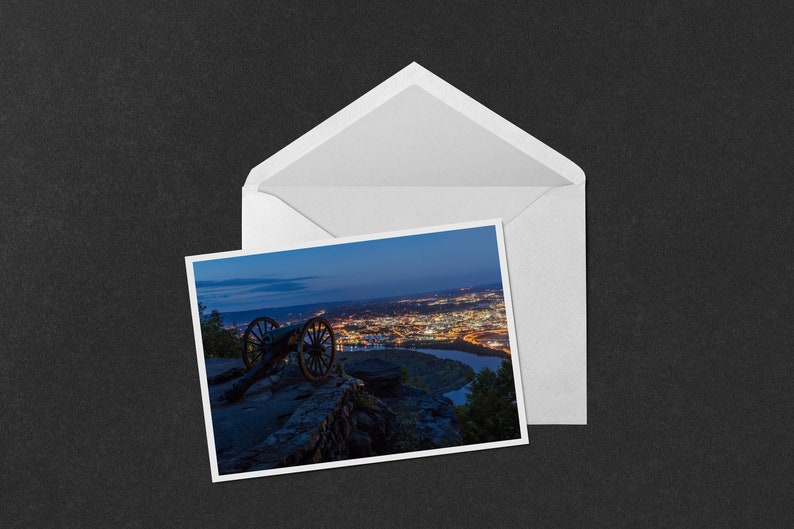 photo of sunset over the cannons at Point Park overlooking Chattanooga Point Park Sunset 5x7 Notecard Tennessee