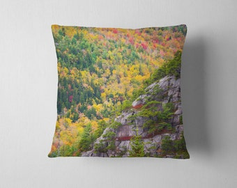 Acadia Cliffs and Trees Throw Pillow - landscape photo of fall foliage on Sargent Peak above Jordan Pond in Acadia National Park, Maine