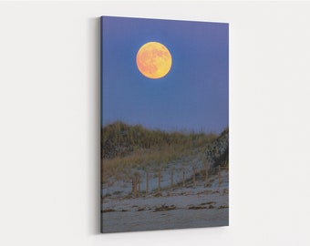 Chapin Beach Moonrise Canvas Gallery Wrap - photo of the almost full moon rising over Chapin Beach, Dennis, Cape Cod, Massachusetts