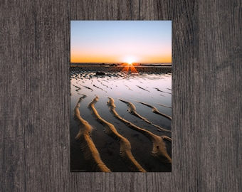 Low Tide Sunset at Chapin Beach Print - portrait landscape photo of the sun setting on the beach in Dennis, Cape Cod, Massachusetts