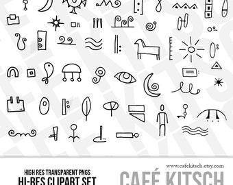 Doodle letters etsy instant download hieroglyphic letters clip art set doodle elements alphabet primitive letters symbols thecheapjerseys Gallery
