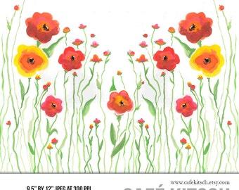 "Wild Flower Border Clipart - 12"" x 9.5"" Hi Res JPEG - Floral Watercolor Illustration Design for DIY Projects"