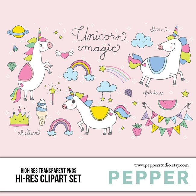 fd77c5be0c9 Unicorn Doodle Clipart Set Birthday Icons Pastel