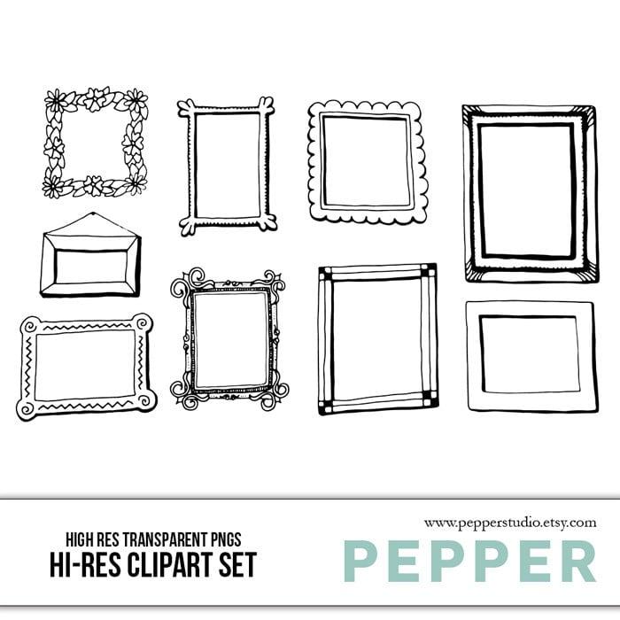 Bilderrahmen Clip Art Set Doodle-Elements handgezeichnete | Etsy