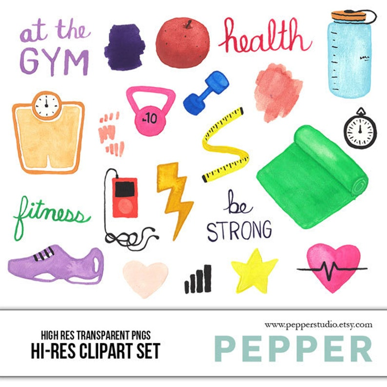 INSTANT DOWNLOAD - Health   Fitness Watercolor Illustration Clipart d726373a0e50d