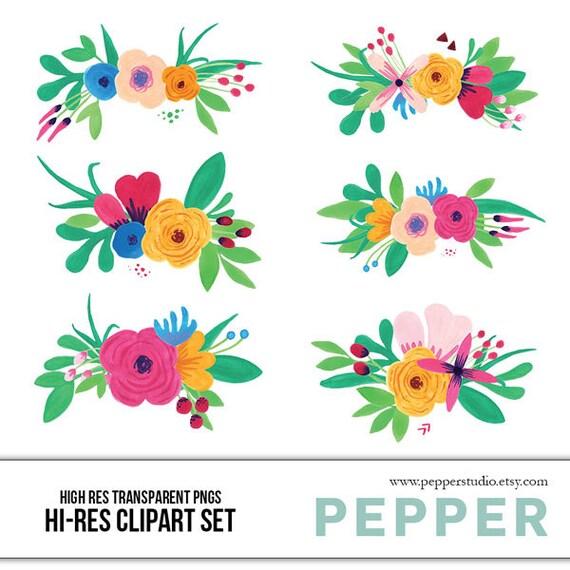 INSTANT DOWNLOAD Watercolor Flower Bouquets Clipart Set Hi   Etsy