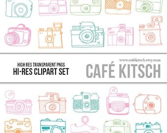 Cameras Clipart Set - Hi Res Printable Camera Doodle Illustrations for Decorating and Scrapbooking