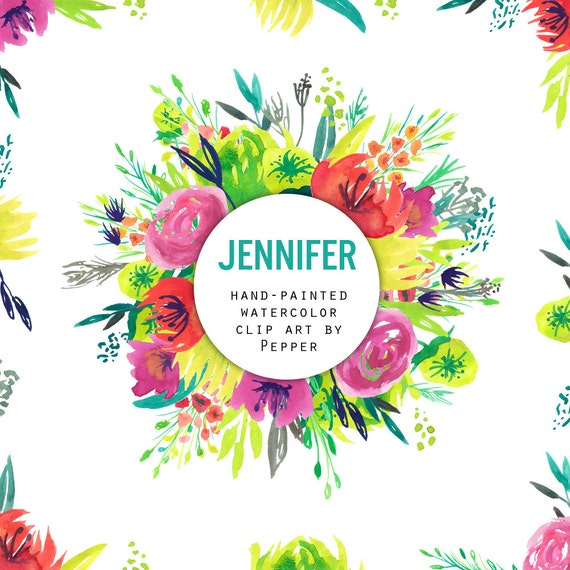 Instant Download Jennifer Watercolor Spring Flowers Clipart Etsy