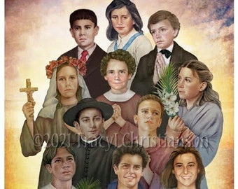 Holy Teenagers Art Print/Pictures Catholic Patron Saints for Youth