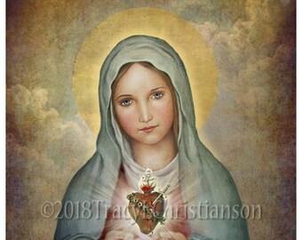 Immaculate Heart of Mary (A) Catholic Art Print  #4330