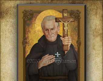 St. Paul of the Cross Wood Plaque and Holy Card GIFT SET, Founder of the Passionist