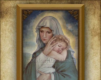 Madonna and Child (J) Plaque & Holy Card Gift Set #3263