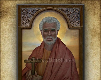 St. Moses the Black (The Ethiopian) Wood Icon & Holy Card GIFT SET for Confirmation, Graduation