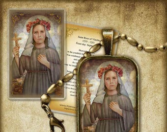 St. Rose of Viterbo Pendant and Holy Card GIFT SET #7288