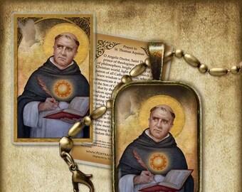 St. Thomas Aquinas Pendant and Holy Card GIFT SET #7173
