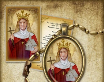 St. Audrey (Etheldreda) Pendant and Holy Card GIFT SET for 1st communion. confirmation