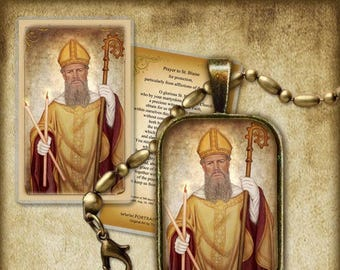St. Blaise Pendant and Holy Card GIFT SET #7198