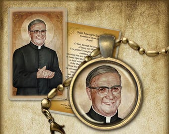 St. Josemaría Escrivá Pendant and Holy Card GIFT SET #7186