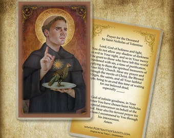 St. Nicholas of Tolentino Holy Card, Saint who had a devotion to the Holy Souls in Purgatory