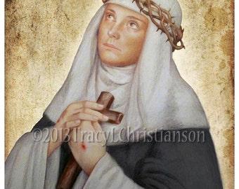 St. Catherine of Siena Art Print, Catholic Patron Saint #4067