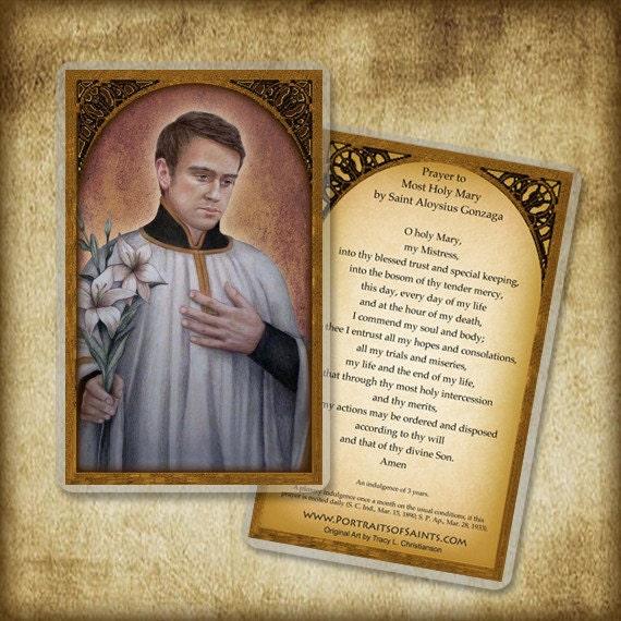 St Aloysius Gonzaga Holy Card