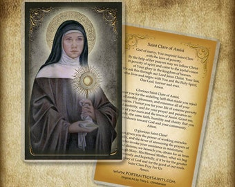 St. Clare of Assisi Prayer Card, Contemporary of St. Francis of Assisi