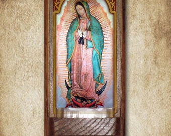 """Our Lady of Guadalupe Holy Water Font, Oak, Catholic, 7.5"""" x 3.5"""", Free Shipping"""