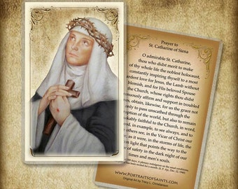 St. Catherine of Siena Holy Card or Wood Magnet  #0067