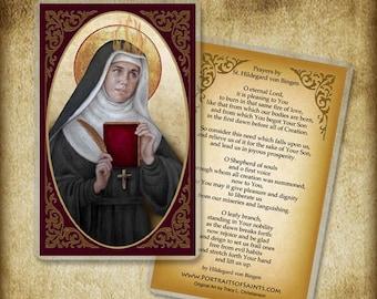 St. Hildegard of Bingen Holy Card, Doctor of the Church