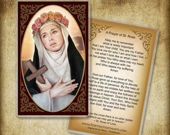 St. Rose of Lima Holy Card, Patron of South America