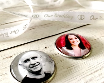Photo charm coin, memory charm for pocket, photo charm for groom, memorial photo charm for bride, Louise Made It, Australia.