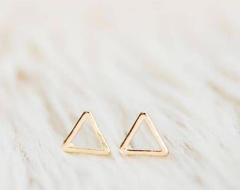 Triangle Stud Earrings, geometric earrings, stud earrings, tiny stud earrings, minimalist earring, gift for her, everyday wear, gold studs