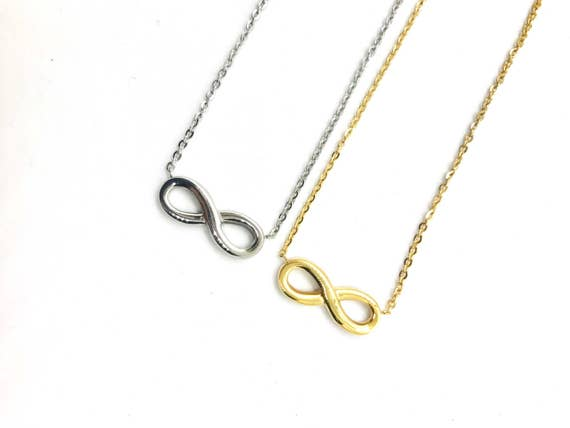 Infinity Necklace - silver or gold finish - eternal love necklace, forever  necklace, choker infinity, layering necklace, itsjudyslife