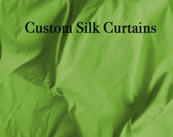 Green Curtains Custom Curtain Panel Silk Drapes Pure Window Panels 1 Choose Size And Style SLDP10