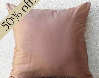 "Onion Pink Silk Dupioni Pillow Cover, silk cushion cover, silk pillow cover, throw pillow, decorative pillow, 15 x 15  - ""HALF PRICE"" - s23F"